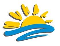太阳和海商标 免版税库存照片