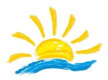 太阳和海的商标 库存照片
