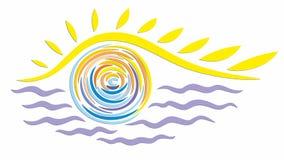 太阳和海的抽象商标 免版税图库摄影