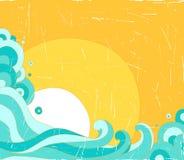 太阳和海背景 免版税库存照片