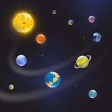 太阳和行星在星系 免版税库存照片