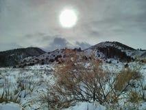 太阳和雪 库存图片