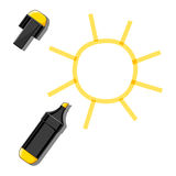 太阳和黄色标志 库存图片