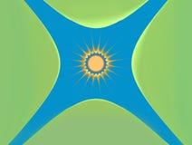 太阳和绿色海岛 背景 免版税库存照片