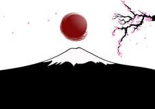 太阳在岩石fujiyama将升起 库存图片