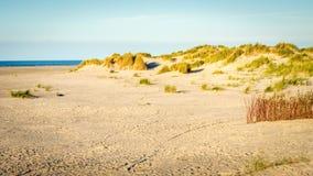 太阳在海滩设置斯希蒙尼克岛弗里斯,荷兰 免版税库存图片