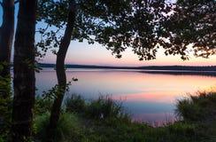 太阳在湖设置了在森林里 库存照片