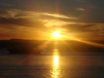太阳在澳大利亚设置了 库存图片