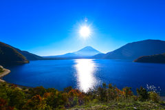 太阳在Mt.fuji 免版税库存图片