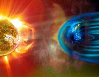 太阳地球连接空间天气 免版税库存图片