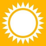 太阳夹子艺术,与锋利光芒的平的太阳象 库存例证