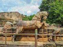 太阳寺庙在科纳克太阳神庙,Odisha,印度的石马 免版税库存图片