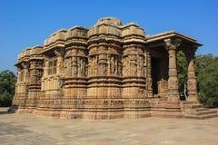 太阳寺庙, Modhera,印度 库存图片