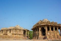 太阳寺庙, Modhera,印度 库存照片