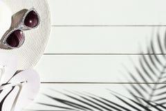 太阳帽子、触发器、太阳镜和棕榈叶暑假背景  库存图片