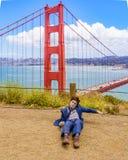 太阳弗朗西斯科加利福尼亚美国- 2016 6月15日,钝汉电影瑞士军队人的丹尼尔・拉德克利夫在金门桥,电池Sp附近 免版税库存照片