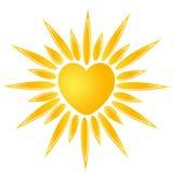 太阳心脏商标 免版税库存照片