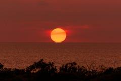 太阳感人的天际线 库存图片