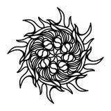 太阳手拉的概述乱画象 印刷品、网、机动性和infographics的可更新的太阳能量传染媒介剪影例证 库存例证