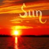 太阳手拉的设计 免版税库存照片