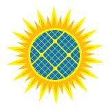 太阳抽象图标的面板 免版税图库摄影