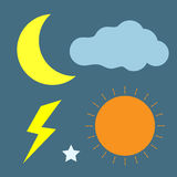 太阳月亮闪电云彩象 免版税库存图片