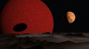 太阳照亮的三个行星 免版税库存图片