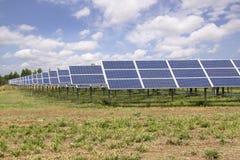 太阳电池板农场在蓝天下 免版税库存图片
