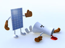 太阳电池板和化学制品烟囱做拳击 库存例证