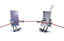 太阳电池板和化学制品烟囱做猛拉绳索 皇族释放例证