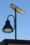 太阳电池板和导致的光 免版税库存照片
