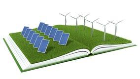 太阳电池板和风轮机有绿草的在书 免版税库存图片