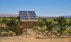 太阳电池板在摩洛哥,非洲 免版税库存图片