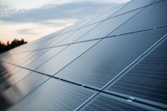 太阳电池板特写镜头 免版税库存图片