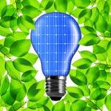 从太阳电池板的Eco电灯泡 免版税库存图片