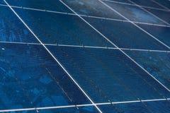 太阳电池板蓝色纹理关闭细节能量可更新的设备设施 免版税库存照片