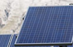 太阳电池板细节在Madonie山的 图库摄影