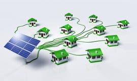 太阳电池板supplys房子 免版税库存照片