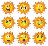 太阳的不同的表情 皇族释放例证
