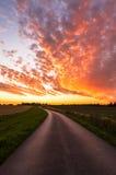 -太阳的北约克郡-英国的约克夏日落-日落 免版税库存照片