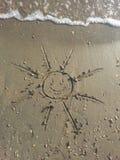 太阳的图片在沙子海滩的 免版税图库摄影