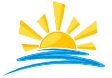 太阳的标志与波浪的 图库摄影