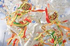 太阳的象征与五颜六色的丝带的在分支,太阳图片 免版税库存照片