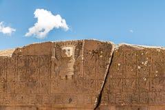 太阳的门细节在蒂亚瓦纳科Tiahuanaco,哥伦布发现美洲大陆以前考古学站点-拉巴斯,玻利维亚的 库存照片