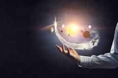 太阳系在手上 库存图片