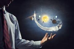 太阳系在手上 免版税图库摄影