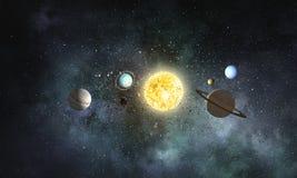 太阳系行星 混合画法 免版税库存图片
