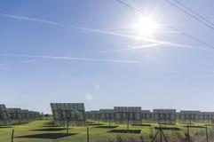 太阳系,有可追踪的元素的概要太阳能发电厂 库存图片