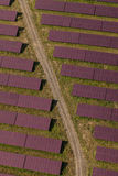 太阳能发电厂鸟瞰图  免版税库存图片