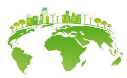 太阳能和风能地球上 免版税库存图片